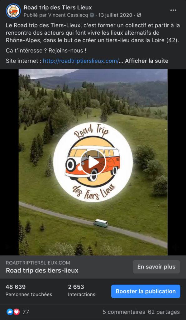 Puvlication facebook du teaser du road trip des tiers lieux