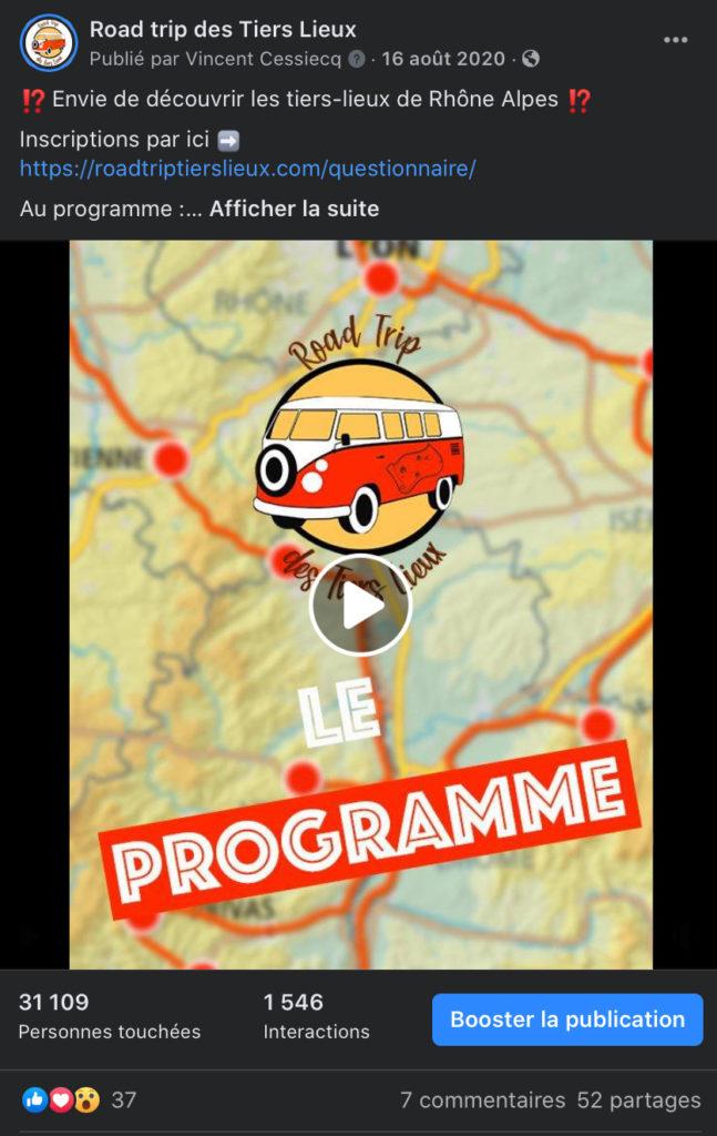 Publication facebook de la vidéo du programme road trip des tiers lieux